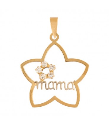 Gold Pendant 18K Flower Mom with Zirconitas