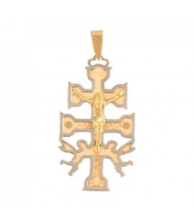 Big Caravaca Cross Pendant in 18K Gold