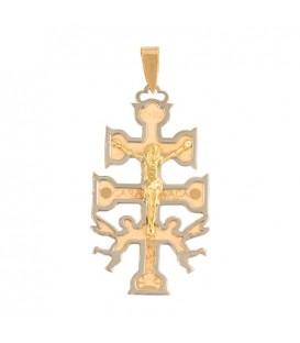 Collier Croix de Caravaca grande en Or 18K