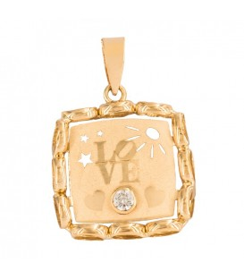 18K Gold Love Pendant with Zirconite