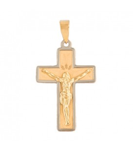 18k bicolor Gold Cross Pendant with Christ