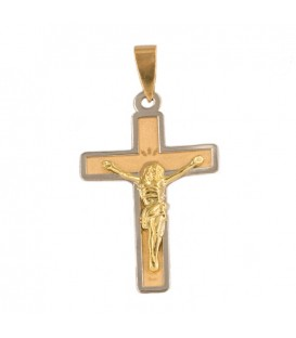 Bicolor gold cross with christ - pendant