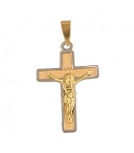 Cruz de oro bicolor con cristo - colgante