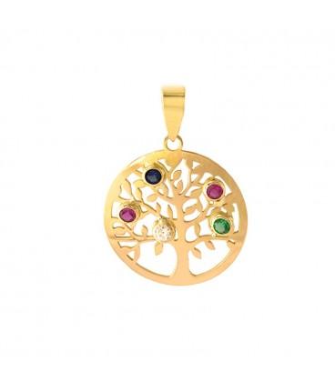 Colgante Árbol de la vida oro con circonitas de colores