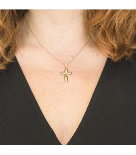 Collier Croix Or Bicolore 18K