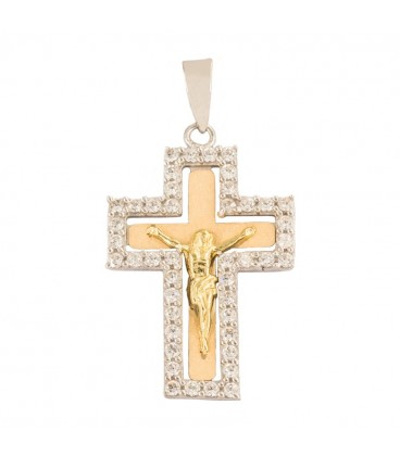 18K bicolor gold cross set with zirconia