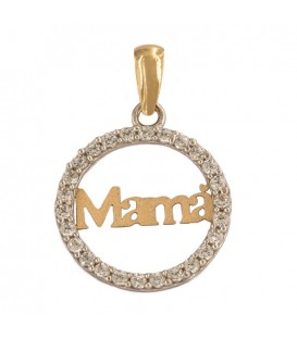 Bicolor 18K Gold Pendant with Zirconia Fence