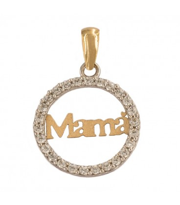 "18K Bicolor Gold ""Mom"" pendant with zirconia fence"