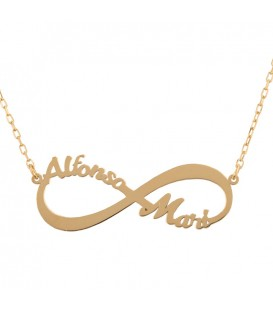 Customizable 18K Gold Necklace Square Infinity