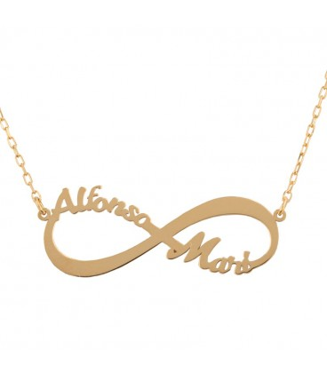 Infinite gold pendant with names