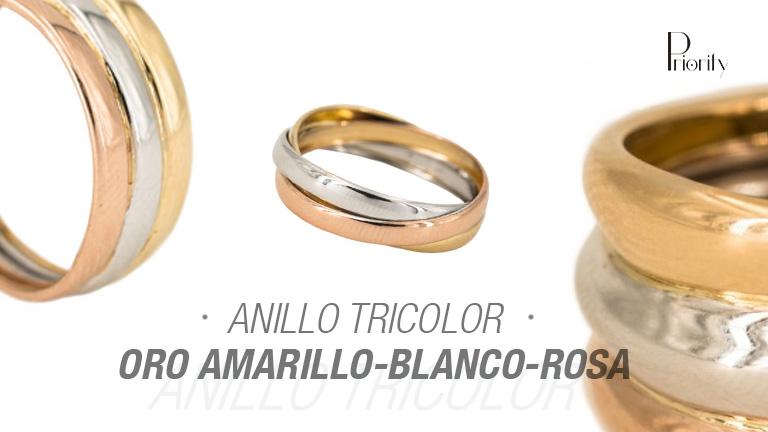 Anillo tricolor (oro amarillo-blanco-rosa)