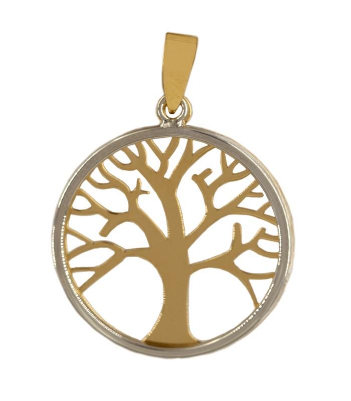 Colgante árbol de la vida oro 18k bicolor (oro amarillo y oro blanco)