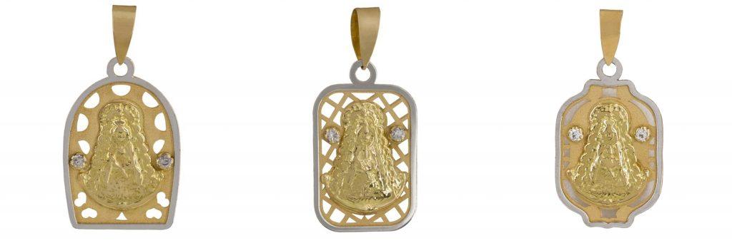 Medallas con forma asimétrica de la virgen del rocío