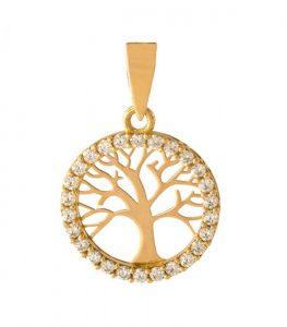 Colgante árbol de la vida en oro 18k con circonitas