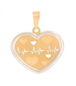 Colgante corazón latidos en oro bicolor 18k