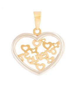 """Colgante corazón """"Te quiero"""" en oro amarillo 18k y cerco de oro blanco 18k"""
