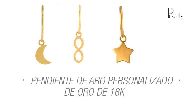 Pendiente de aro personalizado en oro de 18k