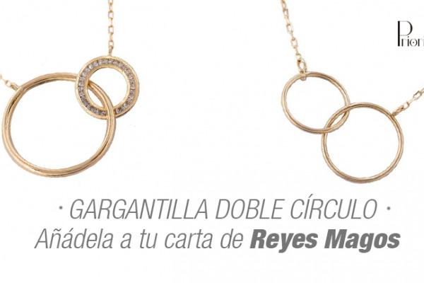 Añade a tu carta de Reyes la gargantilla doble circulo liso en oro de 18k