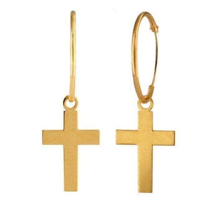 pendientes de aro con cruz
