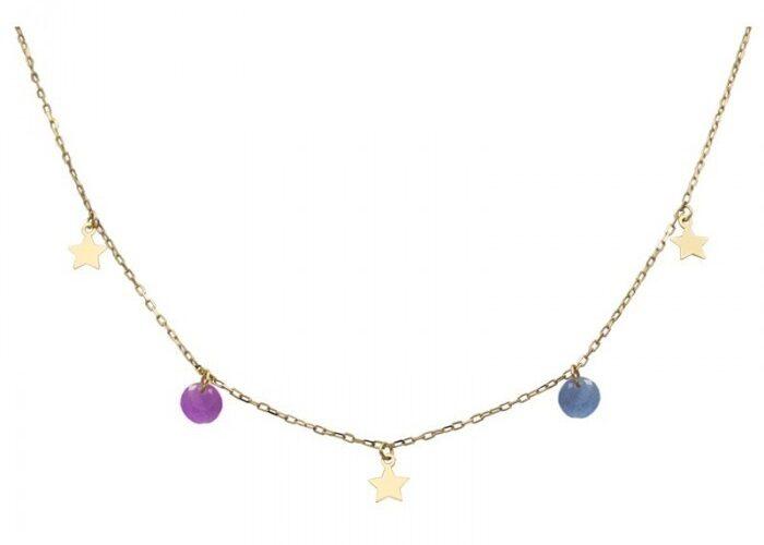 Gargantilla de estrellas con piedras de colores