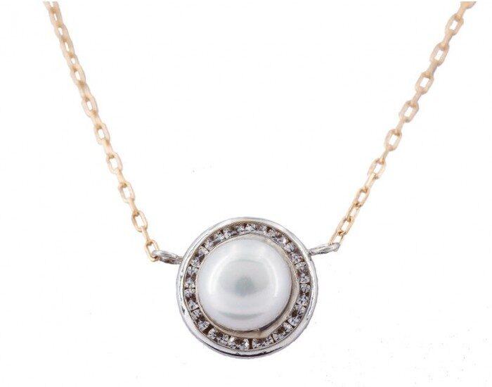 gargantilla oro blanco con perla